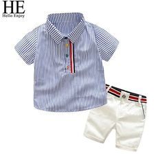 Boys summer fashion clothing sets kids striped short-sleeved T-shirt + shorts 2 pcs suit gentleman clothes Baby Outfits, Short Outfits, Toddler Outfits, Kids Outfits, T Shirt And Shorts, Kids Shorts, Polo Shirt, Shorts Jeans, Dress Shirt