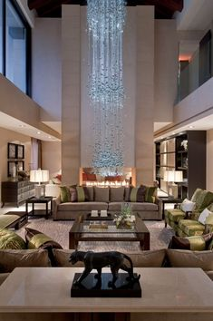 Luxury living area with triple ceiling height © Hill House Interiors