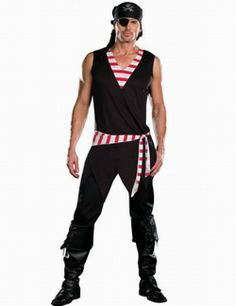 Wholesale Men's Role-playing Halloween Pirate Costumes Top+Hat+Goggles+Belt One Color Black  -$10.66