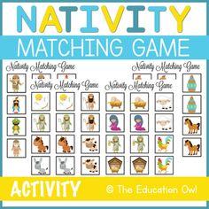 The Nativity Matching Game Christmas Printable Activities, Game 4, Matching Games, Activity Games, Winter Christmas, Nativity, Education, Future, Green