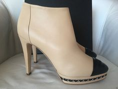 CHANEL BEIGE LAMBSKIN LEATHER BLACK TOE ANKLE BOOTIES — Miami Lux Boutique Chanel Boots, Black Toe, Lambskin Leather, Ankle Booties, Stiletto Heels, Miami, Booty, Pumps, Beige