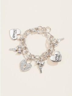GUESS Key & Heart Charm Bracelet, SILVER GUESS. $25.00. silver tone. heart charm. women's bracelet. GUESS accessories. key charm
