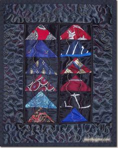 """Tie-ing Geese"" mini quilt by Martha Ginn. 10 x 12.5"". Men's ties in a Flying Geese pattern on black satin."