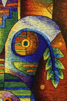 """Detail, Handwoven Peruvian Tapestry by Maximo Laura """"Tenderness to absence"""". 78 x 31 inches (200 x 80 cm) /// Email for price: info@maximolaura.com"""