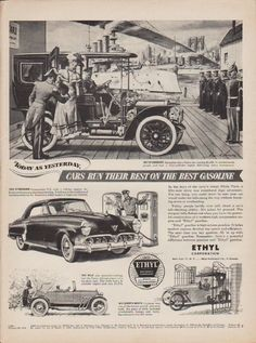 """Description: 1952 ETHYL CORPORATION vintage print advertisement """"Today As Yesterday""""-- Today As Yesterday, Cars Run Their Best On The Best Gasoline. 1907 Studebaker * 1952 Studebaker * 1919 Velie * 1913 Scripps-Booth. In the days fo the navy's Great White Fleet, a fifty-mile drive was considered hgh adventure. -- Size: The dimensions of the full-page advertisement are approximately 10.5 inches x 14 inches (27cm x 36cm). Condition: This original vintage full-page advertisement is in Very Good…"""