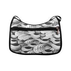 waves black white 3000x3000 Crossbody Bags (Model 1616) 75ce723f486e9