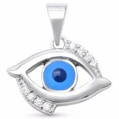 Sterling Silver Evil Eye with CZ Pendant Sterling Silver Bracelets, Sterling Silver Pendants, Evil Eye Pendant, Bohemian Jewelry, Bohemian Gypsy, Silver Drop Earrings, Jewelry Stores, Charms, Yellow Black