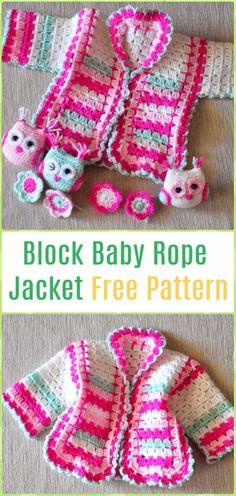 Crochet Block Baby Rope Jacket Cardigan Free Pattern - Crochet Kid's Sweater Coat Free Patterns