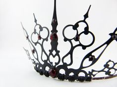 Red Gothique 2.0 - Black Filigree Gothic Tiara - Evil Queen Costume