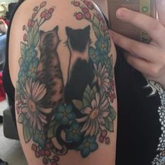 This beautifully intricate cat couple. | 28 Classy Cat Tattoos Every Cat Lover Will Adore