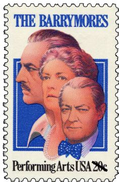 "A distinguished actress, Ethel Barrymore appeared in vaudeville, on Broadway, radio, television, and in a number of motion pictures. She and her brothers, John and Lionel, were labeled ""the royal family of Broadway"" in the 1920s. This stamp honoring the theatrical family was issued in 1982."