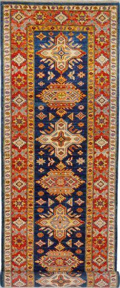 "Handmade Afghan Blue Oriental Kazak Runner 2' 8"" x 9' 10"" (ft) - No. 11972  http://alrug.com/blue-oriental-kazak-runner-2-8-x-9-10-ft-no-11972.html"