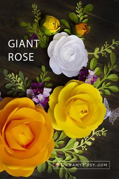 Giant Camellia paper flower tutorial and template Giant Paper Flowers, Large Flowers, Diy Flowers, Flower Diy, Paper Flower Patterns, Paper Flower Tutorial, Leaf Template, Paper Crafts, Diy Crafts