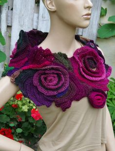 Crochet Scarf Freeform crochet Roses Button Womens scarf by Degra2 inspiration to make great in neutral colours or for a statement shawl with a wedding outfit