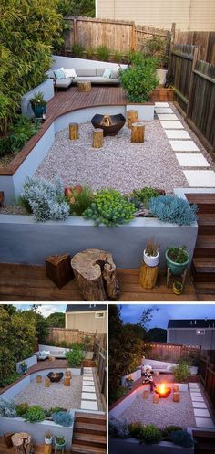 This modern landscaped backyard has a raised outdoor lounge deck, a wood burning firepit, succulents, bamboo and a vegetable garden. #modernbackyardgarden