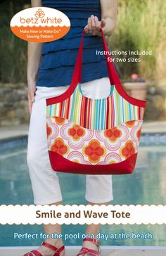 Smile and Wave Tote Bag PDF Sewing Pattern June Sale