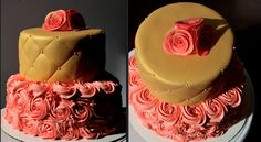 Pink and Gold Rosette Cake www.nbluf.com