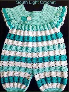 Crochet Romper, Baby Girl Crochet, Crochet Baby Clothes, Crochet For Boys, Free Crochet, Baby Dress Patterns, Crochet Patterns, Knitting Patterns, Crochet Ideas