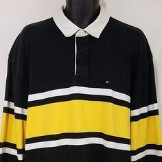 8e5cc2d6 Yellow Stripes, Rugby, Tommy Hilfiger, Long Sleeve Shirts, Men's Clothing,  Polo