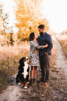 Engagement pictures with Bernese mountain dog