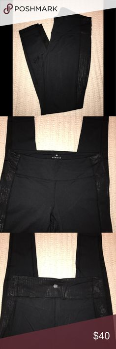 Athleta Chaturanga Tights Athleta Chaturanga Tights. Black with crackle on thighs and back of waist. EUC. Very clean. No tears or stains. Size L. Athleta Pants Leggings