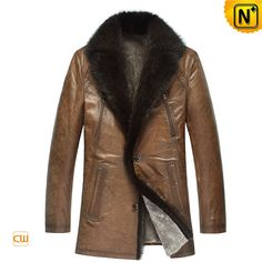 Mens Designer Shearling Leather Coat Mink Fur Collar CW878505 $1445.89 - www.cwmalls.com