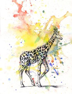 Giraffe Art Animal Watercolor Painting - 5 x 7 in, print Great Children Kids Baby Nursery Room Decor Art. $10.00, via Etsy.