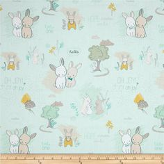 Art Gallery Littlest Furry Tales Minty from @fabricdotcom  Designed for Art Gallery, this cotton print fabric is perfect for quilting, apparel and home decor accents. Art Gallery Fabric features 200 thread count of finely woven cotton. Colors include gold, grey, white, green and a minty blue background.