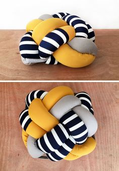 The design of this fun stripey knot pillow was inspired by knots tied by sailors and the nautical lifestyle in general.