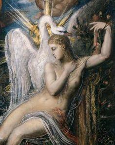 """Gustave Moreau, """"Léda"""", détail, huile sur toile, Paris, musée Gustave Moreau, Cat. 43. L'union entre Léda – la femme de Tyndare roi de Sparte – et Jupiter métamorphosé en cygne, fut pour les peintres une source constante d'inspiration."""