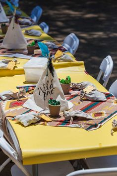 Party table at a wild one first birthday party! See more party ideas at… Indian Birthday Parties, Wild One Birthday Party, Boy First Birthday, Birthday Fun, First Birthday Parties, First Birthdays, Birthday Ideas, American Party, Birthday Centerpieces