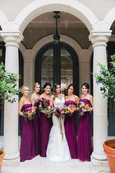 bold purple strapless sweetheart bridesmaids
