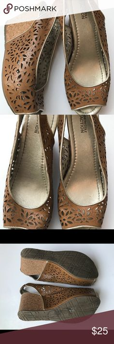 Kenneth Cole Open Toe Wedge - All leather upper - Toffee brown color - 4 inch wedge  - nick on front cork shown in pics - Very good condition only worn a few times - Smoke free & pet free home REASONABLE OFFERS possibly accepted.🌸 Kenneth Cole Shoes Sandals