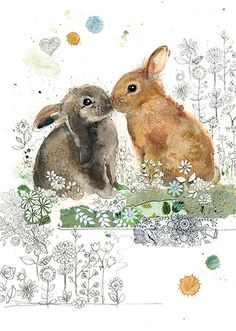 Rabbit Kiss by Jane Crowther for Bug Art greeting cards.