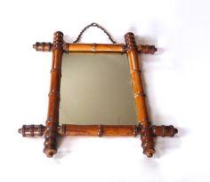 Ancien miroir faux bambou.Miroir de barbier par OhInTheShop sur Etsy