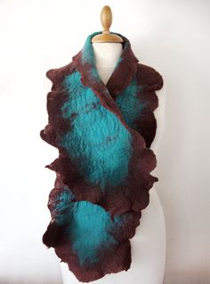 Hand felted scarf turquoise and chocolate brown merino wool on Etsy, $83.39