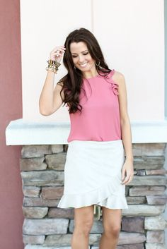ruffle skirt with pink top