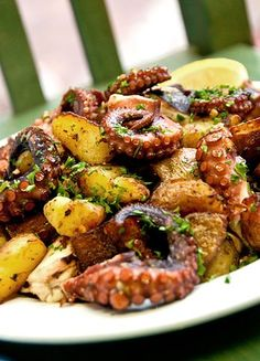 Spanish octopus & potatoes with herbs & lemon
