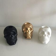 Skull tea light holder by TheHucksonHome on Etsy