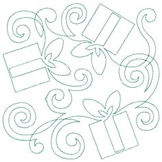 Continuous Presents Square machine embroidery quilting design from Continuous Line Holiday #12616 by OESD