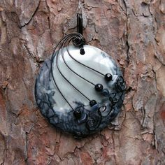 Gray and Black Picasso Jasper Gunmetal Wire Wrapped Pendant Necklace | Flickr - Photo Sharing!