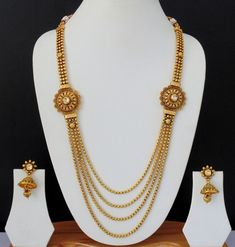 Long Necklace Kundan Indian Jewelry Ethnic Earrings Bollywood Gold Plated Set v0 #Indian