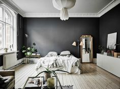 A Dramatic Swedish Space With Black Walls Dark Gray Pin On Interiores 35 Black Room Decorating Ideas How To Use Black Wall Paint Black Bedroom Interior Designs Interior Exterior, Home Interior, Apartment Interior, Vintage Apartment, Design Interior, Parisian Apartment, Ikea Interior, Cozy Apartment, Studio Interior