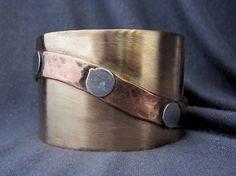 metal cuff mixed metal jewelry mixed metal bracelet tFirednWiredJewelry on Etsy