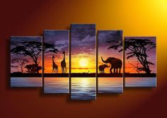 hand-painted wall art African elephants deer Home Decoration Modern Landscape Oil Painting on canvas 5pcs/set