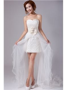 Beach Sheath/Column Strapless Mini-Length Wedding Dress