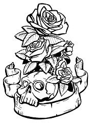guns and roses coloring pages - Coloring Pages Roses Skulls