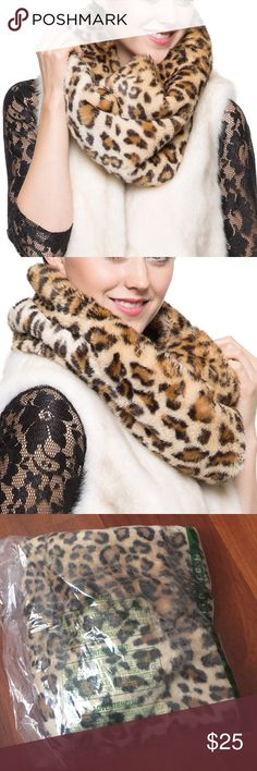 Adelaqueen Vegan Leopard Fur Infinity Scarf Adelaqueen Vegan Leopard Fur Infinity Scarf. 100% Modacrylic. Lush beaver/ sheared mink faux fur in velvety soft. Dry clean prefered; Hand washable, line dry with sunlight exposure. Color is  Medium Leopard. Product Dimensions14 x 13.1 x 3.1 inches. New in packaging. Adelaqueen Accessories Scarves & Wraps