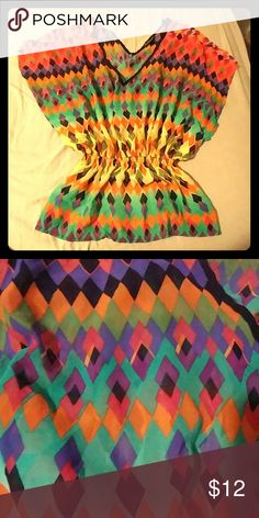 Vibrant top Colorful top only worn a couple of times. Tops Blouses