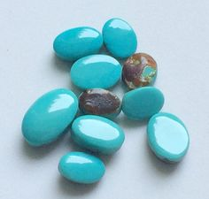 Turquoise Cabochons 10 Pcs Natural Smooth Oval by gemsforjewels